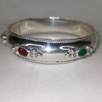 "TAXCO Hinged Wide Bangle Bracelet, Onyx Green Red Jasper 925 Silver 2.5"" Medium"