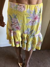 New Look Yellow Floral Ruffle Summer Skirt Size 12