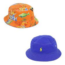 Polo Ralph Lauren Reversible Safari Bucket Hat Cap Royal, Yellow, Orange w/ Fish