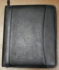 "7 - 1.25"" rings GENUINE LEATHER Classic Black Franklin Covey Zipper Planner"