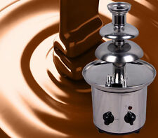 Stainless Steel 3-Tier Mini Fondue Fountain, Chocolate, Carmel Cheese Tower Set