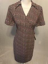 Ann Taylor LOFT Wrap Dress Size 10P Petite Stretchy Jersey Knit Blue Black Print