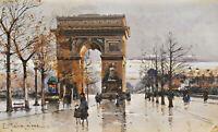 Arc de Triomphe, Paris Painting by Eugene Galien-Laloue Reproduction