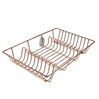 Copper Color Wire Cup Plate Dish Drainer Kitchen Sink Drying Rack Holder Storage