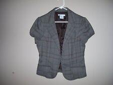 Charlotte Russe Juniors Size L Plaid Multi-Color Short Jacket Cap Sleeves Lined