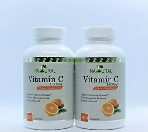 Vitamin C 1000 mg. 200 Capsules .Improve Immune System.