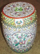 Antique Chinese Enamel Painted Garden Stool Seat Famille