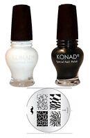 Konad nail art Gold Black+White 12 ml Special Polish + M- 98  Image Plate