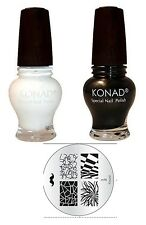 Konad nail art Gold Black+White 12 ml Special Polish + M- 98  Image Plate
