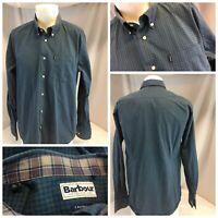 Barbour Tailored Fit Long Sleeve Shirt L Men Blue Check Cotton EUC YGI L9-74