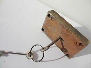Antique Iron Safe Door Lock Bolt Key Vintage