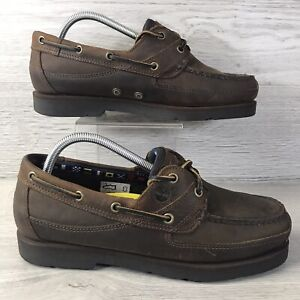 Timberland 71024 Men Brown Moc Toe Loafers Leather Boat Slip On Shoes Size 8.5 W