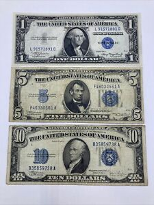 SET OF THREE 1934,1935 ($1)ONE, ($5)FIVE, ($10)TEN PAY TO BEARER ON DEMAND NOTES