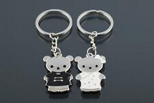 Funny Metal Key Ring Keyfob Couples Black And White Bear Creative Key Ring