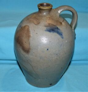 "Vtg Antique ? UNEARTHED~9"" Pennsylvania STONEWARE JUG~Blue~Gray~Brown~Salt Glaze"