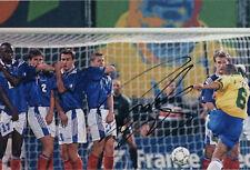 Roberto Carlos Brazil SIGNED AUTOGRAPH 12x8 Photo Le Tournoi Goal AFTAL UACC