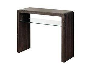 Malmo Charcoal Oak Dark Small Console Hall Table Glass Shelf Hallway DiningRoom