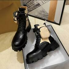 Womens Fashion Leather Two Tone Buckle Strap Pocket Combat Ankle Boots Shoes SUN