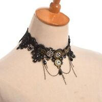 1pc Gothic Punk Girls Gothic Choker Black Lace Gear Tassels Necklace Steampunk