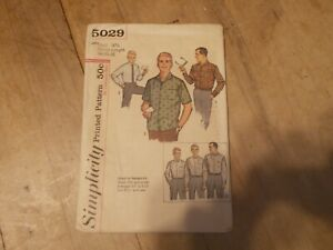 VTG Simplicity 5029 Mens Shirt Sewing Size Neck 16 1/2 Sleeve Length 34-35-36
