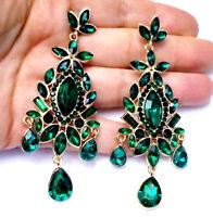 Chandelier Earrings Rhinestone 3.5 in Green