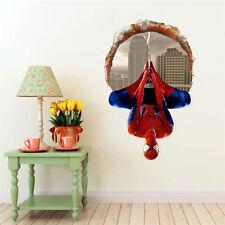 Adesivo parete 3D SPIDERMAN UOMO RAGNO buco muro Cameretta bambini Wall Stickers