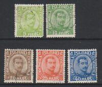 Iceland - 1921/2, 5a Sage-Green - 40a Blue stamps - F/U - SG 132/6 (a)