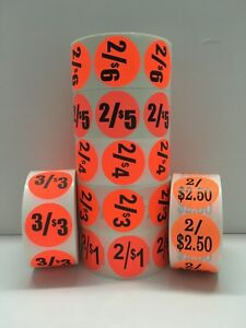 """Br/Red 2"""" Circle '2/$5.00 or $2.69' Labels Retail Pricing Discount (1000/Roll)"""