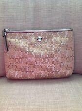 NEW Coach signature metallic gold silver clutch cosmetic pouch zip purse lurex