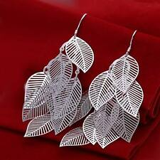 beautiful Fashion Silver wedding women leaf Earring jewelry solid charms nice