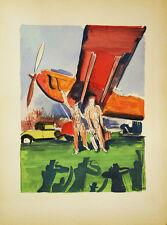 L'AVIATION LITHOGRAPHIE POCHOIR ORIGINAL UZELAC 1932 LES JOIES DU SPORT Plane 05