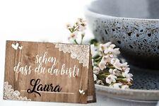 50 Tischakarten Vintage Hochzeit Platzkarten Holz Spitze Foto Aufgabe Spiel Deko