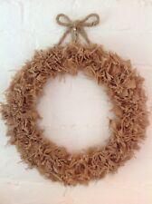 "12"" Hessian (Burlap) Wreath Vintage Shabby Chic All Seasons Celebrations"