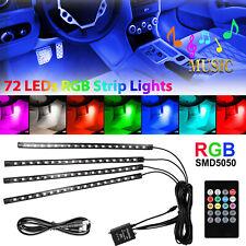 4PCS 72 LED Car Interior USB Atmosphere Lights Strip Wireless IR Remote Control