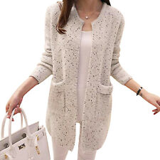 New Women Wool Cashmere Open Cardigan Coat Long Sleeve Loose Knitted Top Sweater