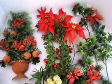 Lot of Vintage Christmas Poinsettia Holly & Berries Plastic. Wall Basket.