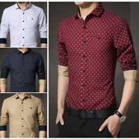 New Men's Fashion Luxury Casual Slim Fit Stylish Dress Shirts Long Sleeves 5252