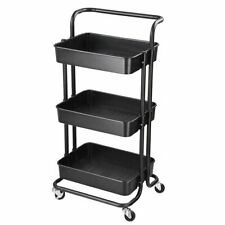 3 Layers Serving Cart Kitchen Salon Spa Slim Rolling Storage Rack Trolley
