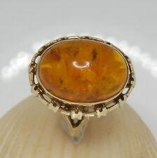 385.Damenring,Bernstein Ring 333 Gelbgold RG 55 (17,5 mm Ø) Bernstein Cabochon