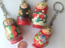 Key Chain Holder Russian  doll  Matryoshka  Hand painted lot of 4 pcs