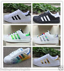 Men Women's Fashion Leather Casual Lace Up Sneakers Trainer Shoes-Superstar