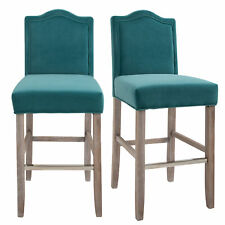 HOMCOM 2 Pieces Bar Chairs Modern Style Solid Square Frame with/ Footrest for