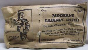 Vintage Moderne Cabinet Catch Latch Pulls Polished Chrome Black Lines NOS