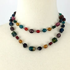 ARTSY multi-color 2-strand glass bead necklace - rustic colorful vintage look
