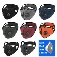 Sport Mask Cycling Face Mask Activated Carbon Filter Breathing Valves w/filter