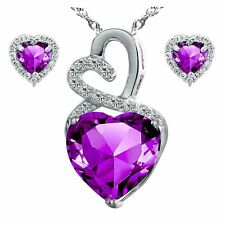 Sterling Silver Created Amethyst Lovely Heart Pendant Necklace Earring Set