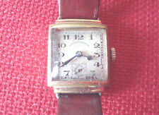 Antique SECUNDUS West End Watch Co, Gold wrist watch, Leather Hirsch calf strap