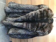 Manteau duffle coat fourrure renard argente