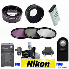 WIDE ANGLE LENS +TELEPHOTO LENS +EN-EL23 + FAST CHARGER FOR NIKON COOLPIX P900
