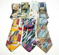 Set Of Seven Neck Ties By Stefano Milano. 100% Silk. Hand Made In Italy. Unworn.